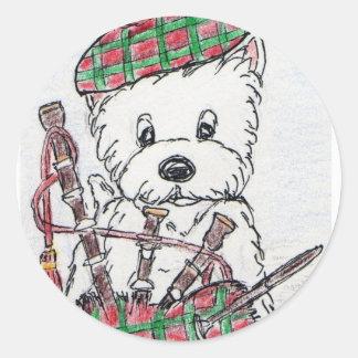 Westie Bagpipes Classic Round Sticker
