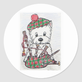 Westie Bagpipes Classic Round Sticker