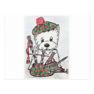 Westie Bagpipes Postcard
