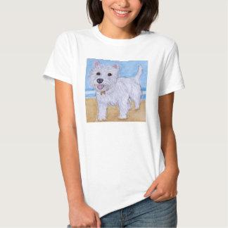 Westie Beach art t shirt wife daughter birthday