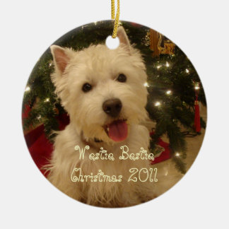 Westie Bestie Christmas by Rwatkins Christmas Ornament