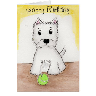 Westie Birthday art card friend husband wife etc