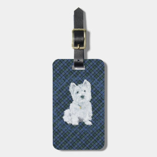 Westie Black Watch Tartan Luggage Tag