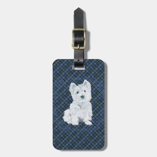 Westie Black Watch Tartan Travel Bag Tag