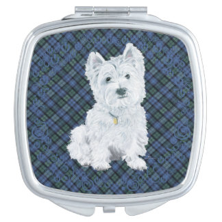 Westie Black Watch Tartan Travel Mirror