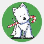 Westie Candy Cane Cutie Stickers Round Sticker