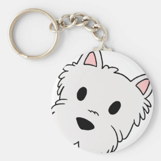 westie cartoon head basic round button key ring
