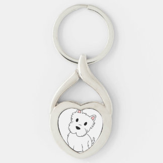 westie cartoon key ring
