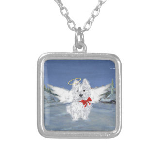 Westie Christmas Angel Square Pendant Necklace