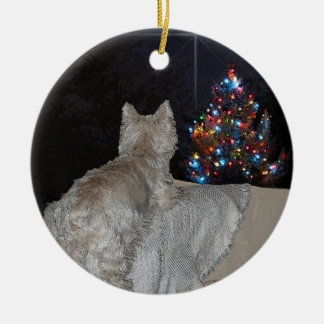 WESTIE CHRISTMAS AWE ROUND CERAMIC DECORATION