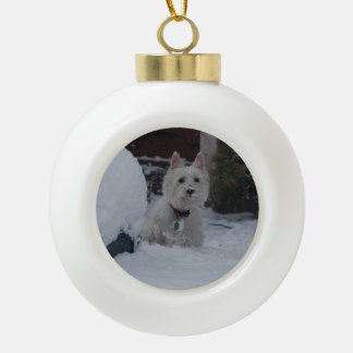 Westie christmas bauble ceramic ball christmas ornament