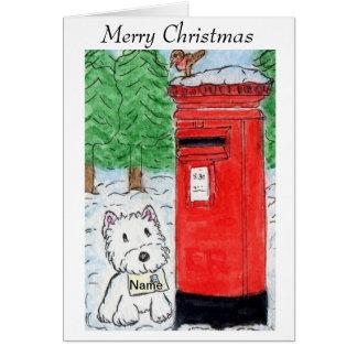 Westie Christmas Card Watecolour art design