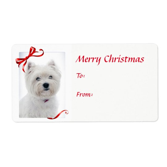 Westie Christmas Gift Stickers Shipping Label
