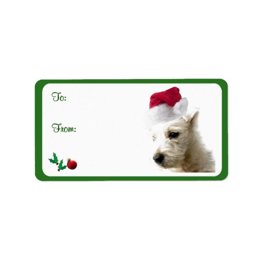 Westie Christmas Gift Tag Stickers Address Label
