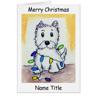 Westie Christmas Lights art Christmas Card