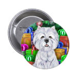 Westie Christmas Open Gifts Button