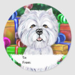 Westie Christmas Open Gifts Gift Tags Round Sticker