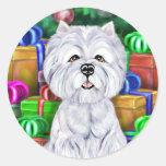 Westie Christmas Open Gifts Round Sticker