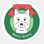 Westie Christmas Round Sticker