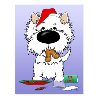 Westie Christmas Santa Postcards