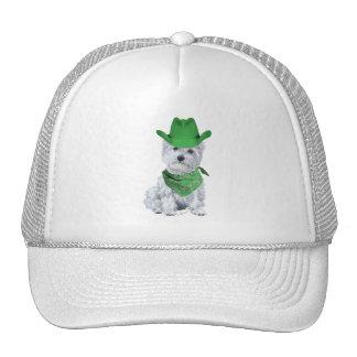 Westie Cowboy in Green Mesh Hat