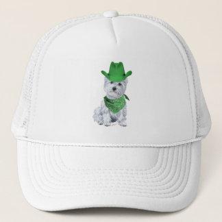 Westie Cowboy in Green Trucker Hat