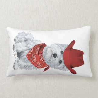 Westie Cowboy in Red Pillows