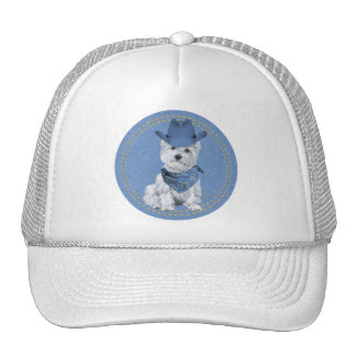 Westie Cowboy on Denim Cap