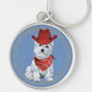 Westie Cowboy on Denim Silver-Colored Round Key Ring