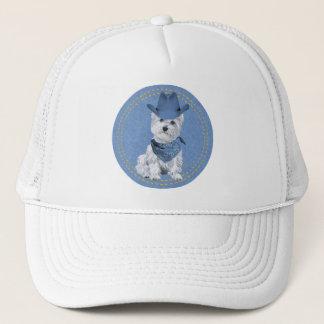 Westie Cowboy on Denim Trucker Hat