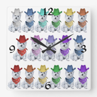 Westie Cowboys All in a Line Square Wallclock