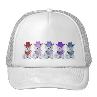 Westie Cowboys All in a Line Mesh Hats