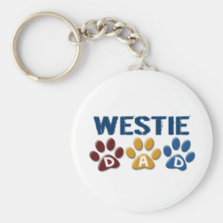 WESTIE Dad Paw Print 1 Basic Round Button Key Ring