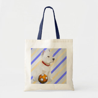 Westie Dog and Ball Art Gifts Budget Tote Bag