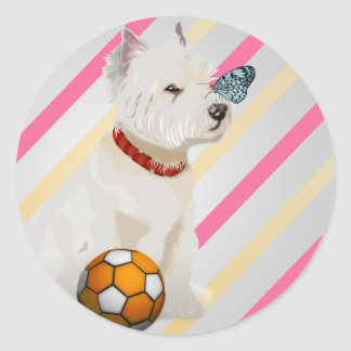 Westie Dog and Butterfly Art Gifts Classic Round Sticker