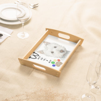 Westie dog and paw print art Serving Tray