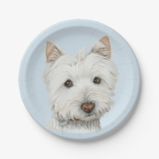 Westie Dog Art Paper Plate 7 Inch Paper Plate