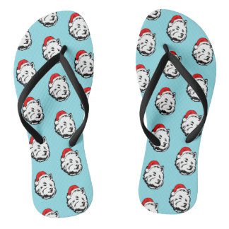 Westie Dog Christmas Santa Hat Flip Flops