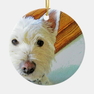 Westie Dog Face, Looking at You Christmas Ornament