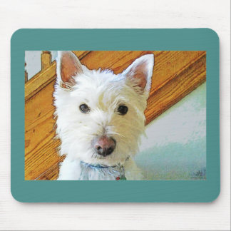 Westie Dog Face, Looking at You Mouse Mat