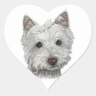 Westie dog heart sticker