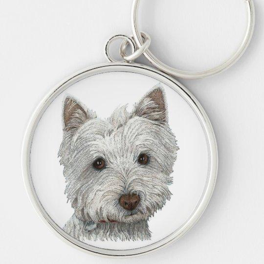 Westie dog key ring