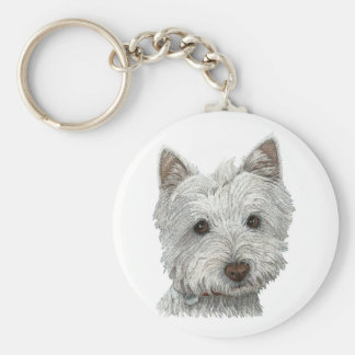Westie dog key ring