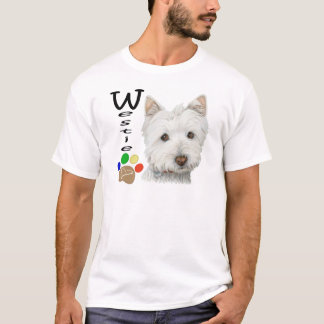 Westie Dog Paw Print Art Design T-Shirt