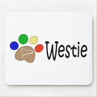 Westie Dog Paw Prints Art Mouse Pad