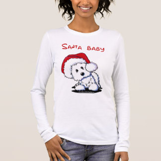 Westie Dog SANTA BABY Ladies Long Sleeve Long Sleeve T-Shirt
