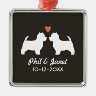 Westie Dog Silhouettes with Heart and Text Silver-Colored Square Decoration