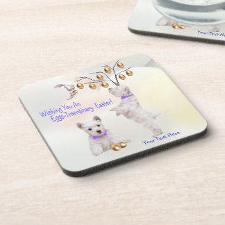 Westie Eggs -Traordinary Easter Wishes Beverage Coasters