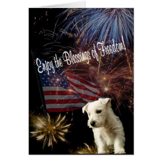 Westie – Enjoy the Blessings of Freedom Greeting Card