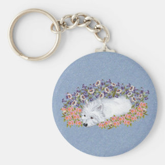 Westie Floral Repose Basic Round Button Key Ring